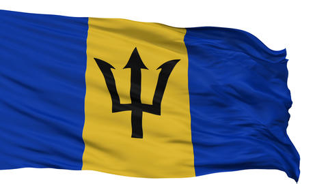 Isolated Waving National Flag of Barbados Animation