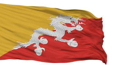 Isolated Waving National Flag of Bhutan Animation