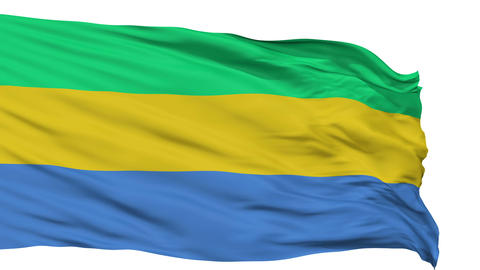 Isolated Waving National Flag of Gabon Animation