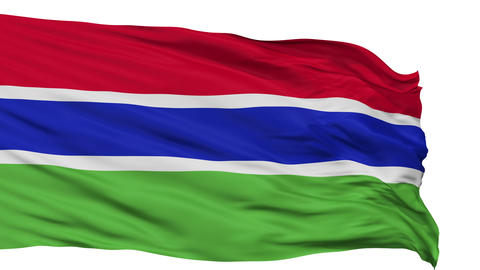 Isolated Waving National Flag of Gambia Animation