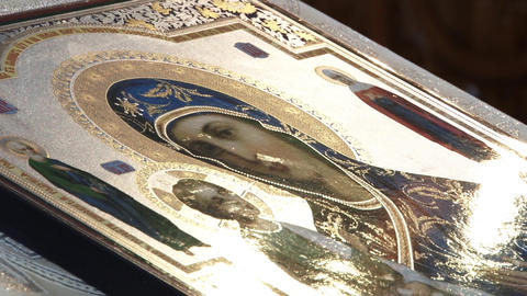 Icon of the altar shining sunlight 33 Footage