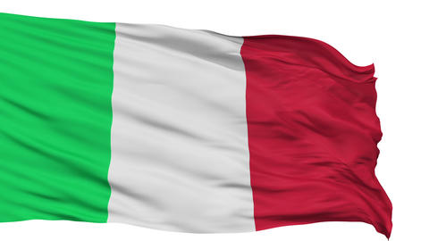 Isolated Waving National Flag of Italy Animation