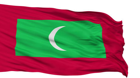 Isolated Waving National Flag of Maldives Animation