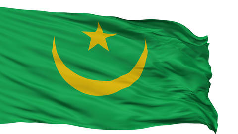Isolated Waving National Flag Of Mauritania stock footage