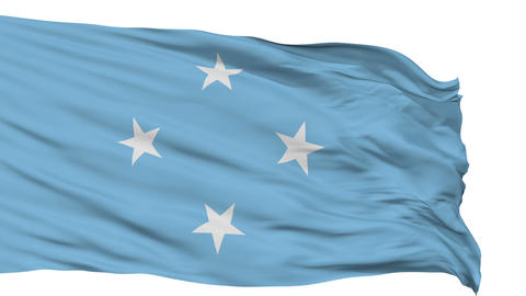 Isolated Waving National Flag of Micronesia Animation