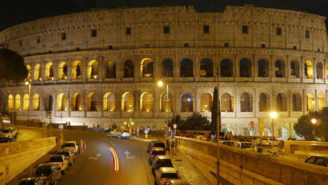Colosseum at night, rome, italy, timelapse, zoom out, 4k Footage