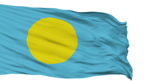 Isolated Waving National Flag of Palau Animation
