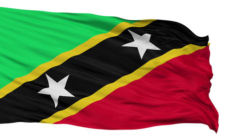 Isolated Waving National Flag of Saint Kitts and Nevis Animation