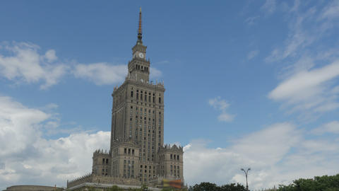 warsaw, poland, culture science palace, stalin building, zoom out, 4k Footage
