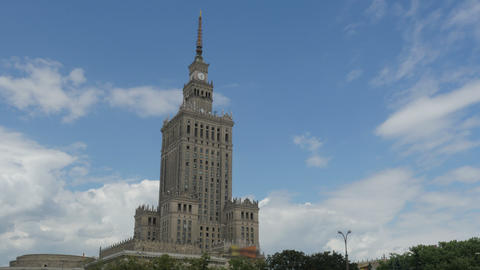 warsaw, poland, culture science palace, stalin building, zoom in, 4k Footage