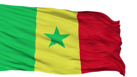Isolated Waving National Flag of Senegal Animation
