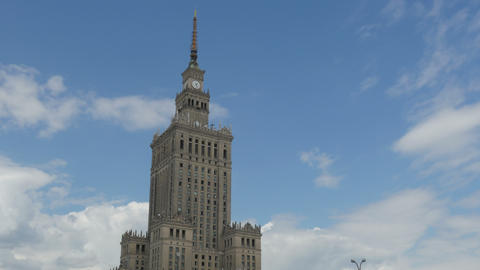 warsaw, poland, culture science palace, stalin building, 4k Footage