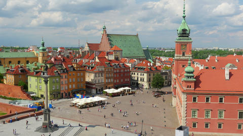 Warsaw Old Town Square, Poland, Timelapse, Zoom Out, 4k stock footage