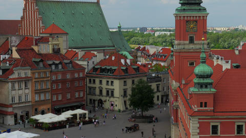 warsaw old town square, poland, timelapse, zoom out, 4k Footage