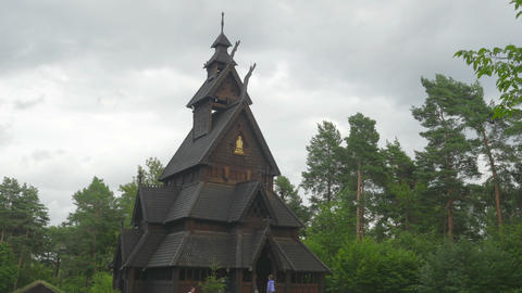 OSLO - NORWAY, AUGUST 2015: stave church, timelapse, zoom out Footage