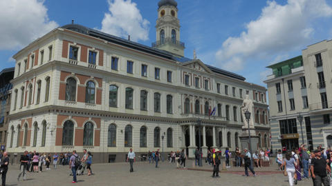 RIGA - LATVIA, AUGUST 2015: city hall view, timelapse Footage
