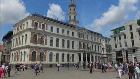 RIGA - LATVIA, AUGUST 2015: city hall view, timelapse Footage