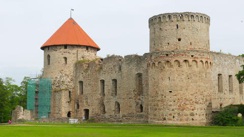 Cesis castle, northern latvia, timelapse, zoom in, 4k Footage