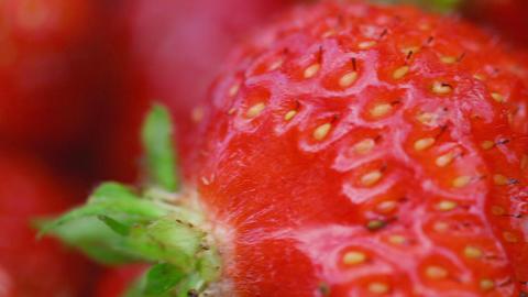 Fresh ripe strawberry, macro Footage