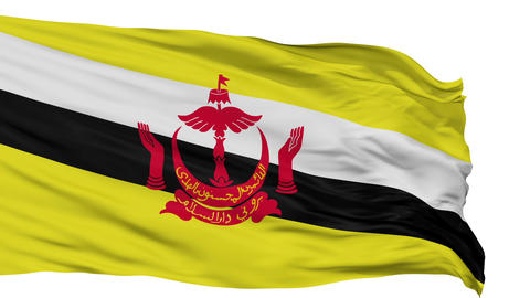 Isolated Waving National Flag of Brunei Animation