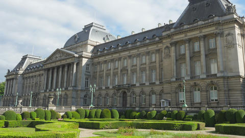 royal palace of brussels, belgium, timelapse, zoom out, 4k Footage