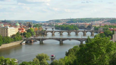 prague view, bridges over danube river, zoom out, timelapse, 4k Footage