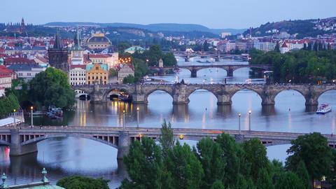 prague view, bridges over danube river, zoom in, timelapse, 4k Footage