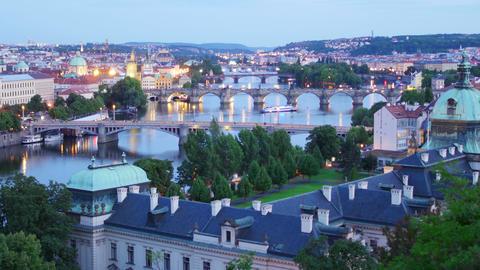 prague view, bridges over danube river, czech republic, timelapse, 4k Footage