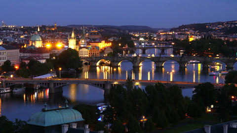 prague view, bridges over danube river, czech republic, timelapse, 4k Footage