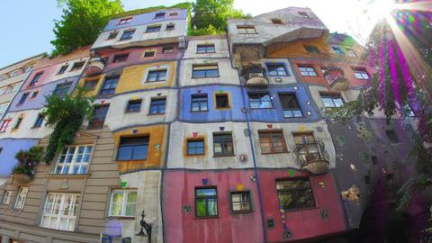 Bizarre Hundertwasser House, Contemporary Architecture, Vienna, Austria, Timelap stock footage