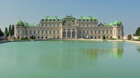 belvedere palace, vienna, austria, timelapse, zoom out, 4k Footage