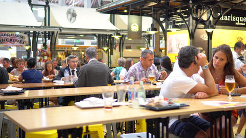 Tourists Having Lunch At Lisbon Market Restaurant Footage