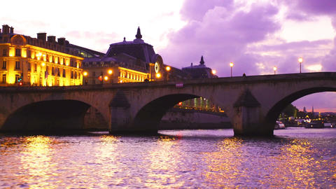 Twilight view of the Seine River in Paris Footage