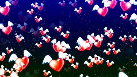 HD Loopable Background with nice abstract flying hearts Animación