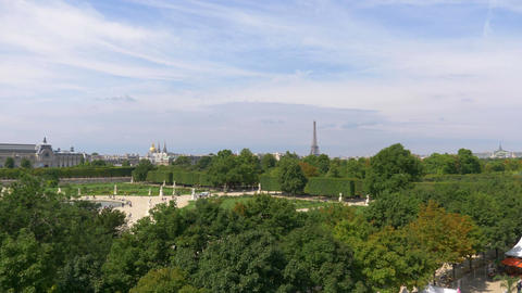Aerial view on The Tuileries Gardens and Eiffel Tower in Paris in 4k Footage