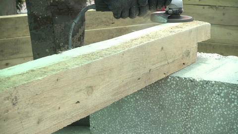 Angle grinder machine polishing on wooden board Footage