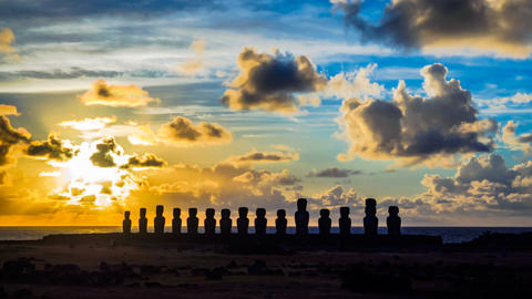 Time lapse of sunrise at row of Moai in Ahu Tongariki on Easter Island Footage