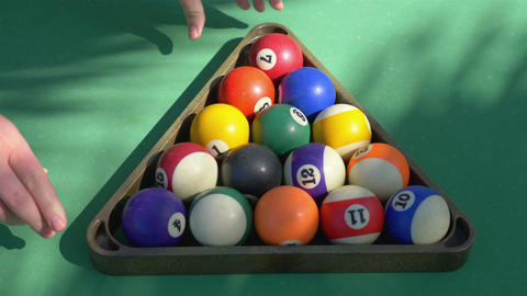 Video of preparing billiards balls on the table in 4k slow motion Footage