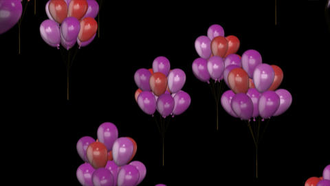 Flying balloons with alpha channel Animation