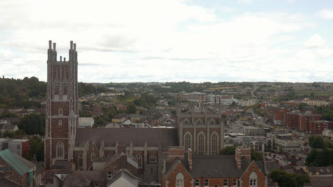 Panorama of Cork, St Mary and St Anne Church; Ireland Footage