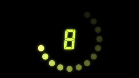 Countdown digital number, yellow green Animation