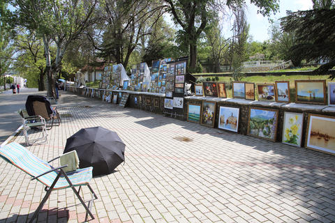 Exhibition of paintings artists on the street Foto