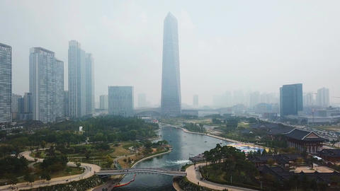 Aerial Flying of Incheon,Central Park in Songdo International Business District Footage