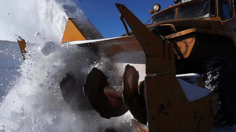the machine cleans the snow on the track Footage