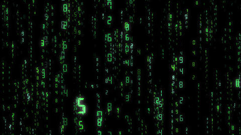 digital number, matrix, computer, loop, green Animation