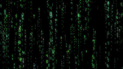 digital number, matrix, computer, loop, green Stock Video Footage