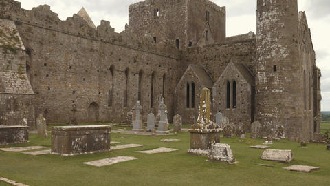 Tilt shot in the round tower of the Rock of Cashel, Ireland Footage