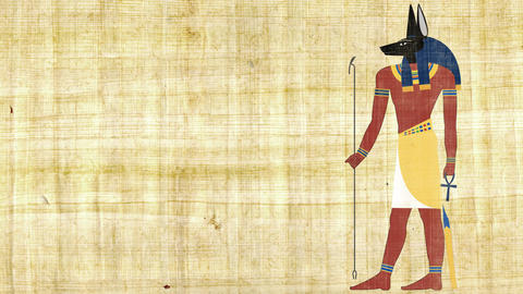 Egyptian God of Death Anubis on a Papyrus Background Live Action