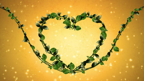wreath of leaf, heart shaped, gold background Animation