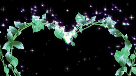 wreath of leaf, heart shaped, black background CG動画素材